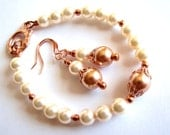 Swarovski Cream Rose Pearl Bracelet, Rose Gold Pearl Bracelet, Rose Gold Filled Bracelet, Bridesmaids Jewelry, Gift For Her, Ready To Ship