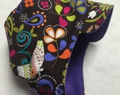 Reversible brown floral and birds winter hat sizes newborn to adult