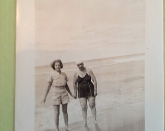 Greeting Card Vintage Photo Two Women at the Beach Greeting Card and Envelope Blamk Inside