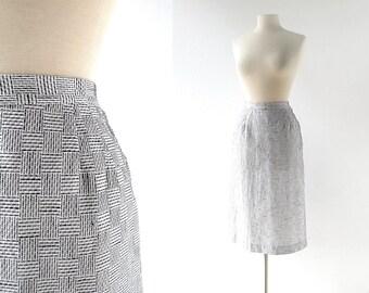 Vintage 50s Skirt | Basket Weave | 1950s Skirt | 27W Small