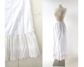 Vintage Edwardian Skirt | Broderie Anglaise | White Petticoat | Lace Slip | 24-27W XS S