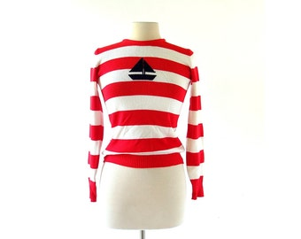 Vintage Nautical Top / Striped Sweater / Sailor Sweater / XS