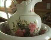 Antique Victorian KT & K Co. Wash Bowl or Basin and Pitcher Roses Gold trim Set USA