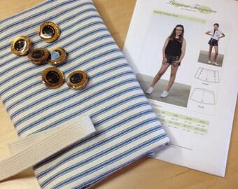 Kids shorts sewing pattern, tween sewing pattern, pattern and fabric kit, sailor shorts sewing pattern,Grey denim Short sewing pattern Kit