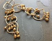 SAGE-Golden Hoop Chandelier Earrings with Golden Beads
