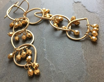 SAGE-Golden Hoop Chandelier Earrings with Golden Beads