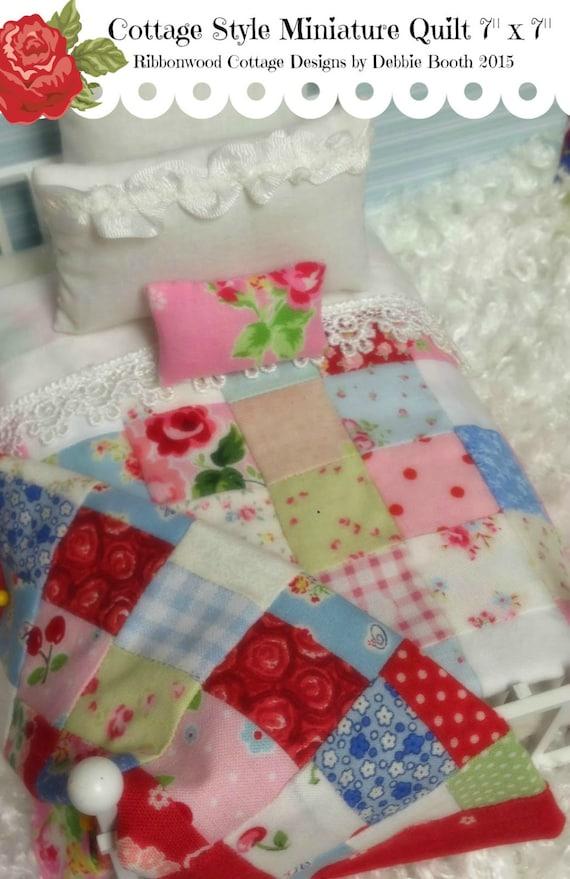 "Miniature Quilt-Cottage Style  7"" x 7""- Dollhouse Miniature Scale  pattern"