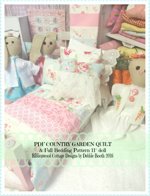 Sewing Pattern PDF Shabby Chic Country Garden Doll Quilt and Pillows PDF Pattern 11""