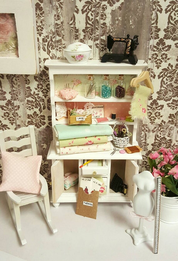 Miniature Dollhouse Sewing Hutch and Accessories