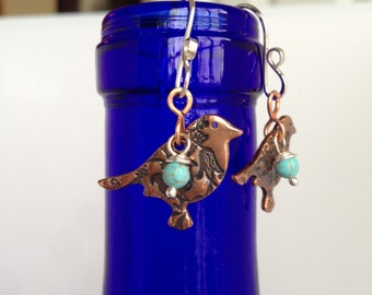 Copper Bird Earrings, Turquoise Bead, Hand Forged Metal Jewelry