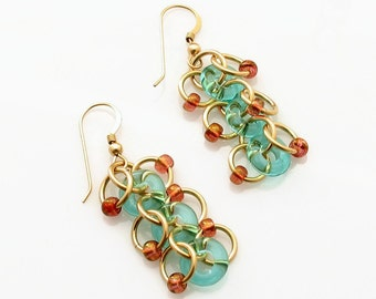 Amber Earrings with Gold Chain Link and Sea Foam Blue Donuts