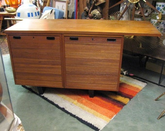 Nipu File Cabinet Credenza with Tambour Door, Danish Modern Vintage Sideboard, Office Modular Furniture, 1958 Mid Century