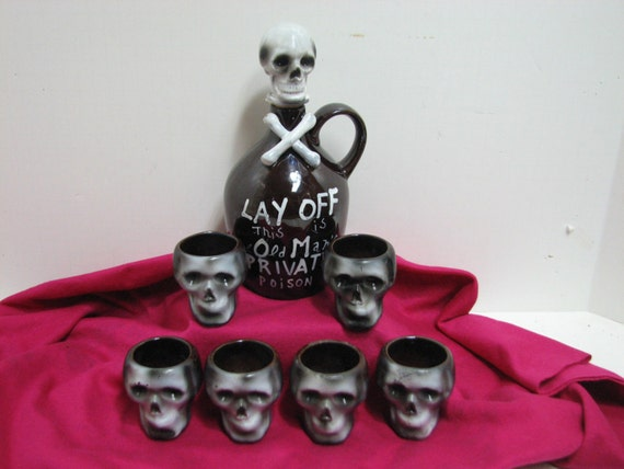Vintage Skull & Cross Bones Decanter Bottle Jug and Shot Glasses Mugs, Halloween Skeleton Crossbones Drink Set by Nasco Del Coronado