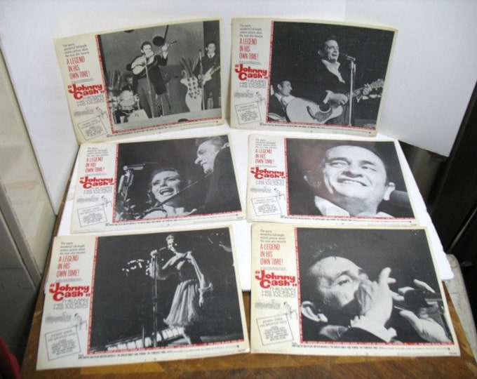 Johnny Cash Lobby Cards from 1969, Set of 6, Movie Poster, The Man His World His Music, June Carter Country Music