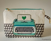 Live, Love, Laugh, Melody Miller Typewriter, Zippered clutch bag, art pouch, yuwa circles