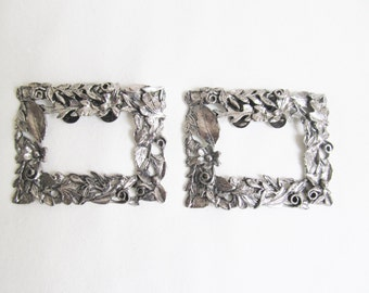 Pair Musi Shoe Buckles Clips Silver Garland Leaves
