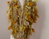 Scarf Wrap  Hand Spun Hand Knit  cream beige light green eggplant gold merino and silk