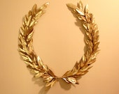 Year-round GRAND Gold Laurel Bay Leaf Crest Wreath Peace Victory Everyday Wedding Olympic Faux Artificial