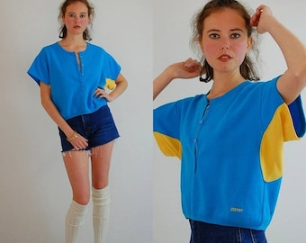 sale 25% every sunday Esprit Boxy Crop Top Vintage 90s Blue and Yellow ESPRIT Sport Slouchy Hip Hop Sweatshirt (s m)