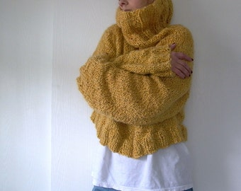 Easy Like Sunday. oversized sweater knitting pattern . cropped sweater pattern . cowl neck chunky knit sweater pattern . pdf knit pattern