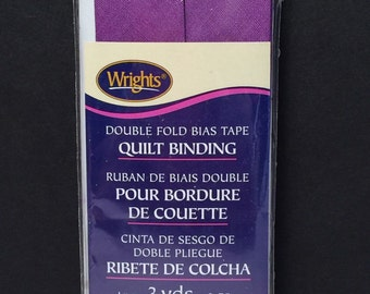 Wrights Purple Double Fold Quilt Binding Bias Tape 3 Yards