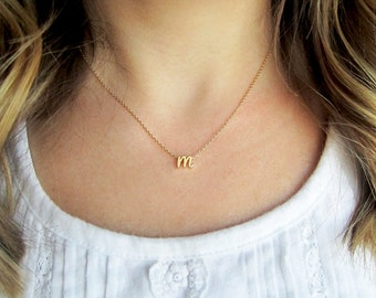 Initial Necklace, Curisve Gold Silver or Rose Gold - Script Tiny Letter Custom Personalized Bridesmaid Gift Wedding Minimalist Dainty