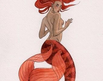 ORIGINAL - Red Mermaid - watercolor - 8x10