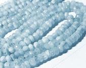 Aquamarine Gemstone Faceted Rondelles, 5mm Semi Precious Gemstone.  Your Choice (3aq)