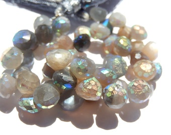 Grey Moonstone Faceted Onion Briolettes. AB Finish 7 to 7.5mm. Semi Precious Gemstone Briolette. Packet of 2 Briolettes  (fmn)