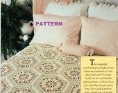 Crochet Bedspread PATTERN Afghan, Table Runner, Throw, Granny Squares Instant Download PDF