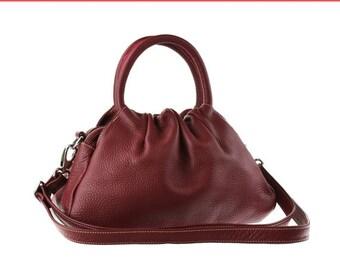 SALE - Burgundy leather purse, leather handbag, shoulder bag women, small leather purse, handmade leather bag, crossbody bag, women bag