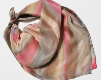 Hand Painted Silk Square Scarf - Hand Dyed Bandana Chocolate Coffee Brown Beige Tan Cream Gray Grey Pink Salmon Coral