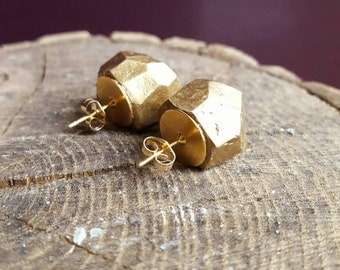 Geometric Gold Dipped Faceted Earrings