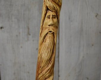 Walking Stick, Wood Spirit Walking Stick Carving, Hand Carved Wizard Staff, Mountain Man Wood Carvers of Etsy, 1356