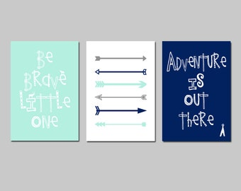 TRIBAL Boy Nursery Decor Woodland Nursery Art - Be Brave Little One Quote, Arrows Nursery, Adventure Is Out There Teepee - Set of 3 Prints