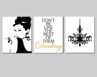 Black and Gold Girl Bedroom Art - Audrey Hepburn, Don't Be Like The Rest of Them Darling Quote, Chandelier - Set of Three 8x10 Prints
