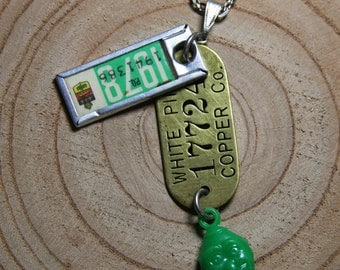 Vintage License Plate Tag 1978 NECKLACE with Green Face Charm & Brass Tag- Found Object Jewelry