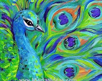 Peacock print, peacock, wall art, Bird print,  peacock painting, Bird art, Signed Print, proud peacock