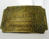 Vintage Mississippi River Boat Belt Buckle Riverboat Queen of the West 1973 Boho Western