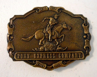 Pony Express Belt Buckle Castcraft Vintage Western Cowboy Horse Mail Letter Carrier Wild West