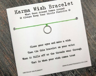 Karma Wish Bracelet - Available In Over 100 Different Colors!!!  (Mini Smooth Circle Charm - Bright Silver)