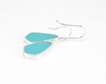 Absolute Earrings in light scuba blue aqua resin sterling silver
