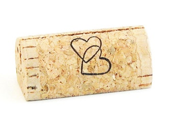Custom Printed Wine Cork Place Card Holders - Double Hearts
