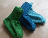 Baby Sock, Six Months to a Year, Cotton Sock, Hand knit Baby Sock, Welcome Baby, Baby Sock Canada, Green Sock, Blue Sock, Knit Montreal