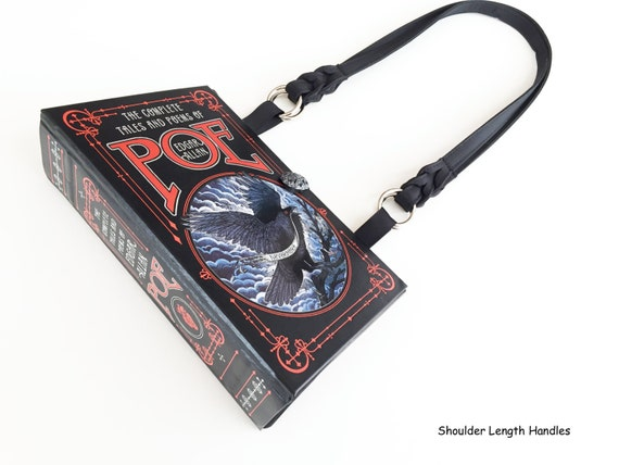 Edgar Allan Poe Recycled Book Purse - The Raven Book Cover Handbag - Poe Book Clutch - Macabre Gift - Horror Book Bag - Poe Shoulder Bag