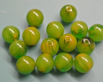 Lot of 15 vintage 1940s halftranslucent foggy grassgreen tested bakelite plastic beads for your beading prodjects