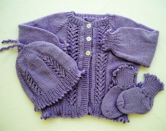 Lavender Girl Sweater Set 6 Months