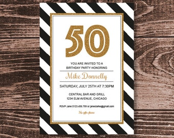 30th 40th 50th 60th 70th 80th 90th Birthday Party Invitation – DIY Printable Personalized –Mono Glitter (Digital File)