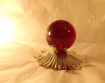 FREE SHIPPING lucite red ball globe (Vault 21)