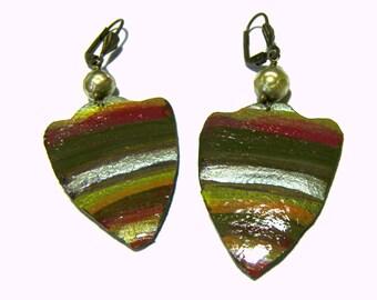 Hand Painted Leather Earrings Tribal Boho Ethic Jewelry Goddess Warrior Shield Earrings Boho Chic Gemstone Earrings Leather Jewelry